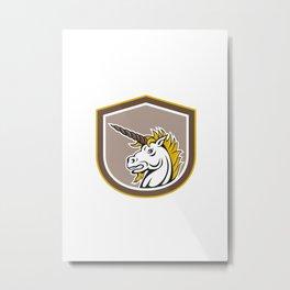 Angry Unicorn Head Cartoon Metal Print