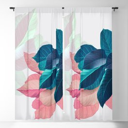 Pink and Blue Leaf Blackout Curtain