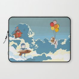 A boy, a box and two bassets hounds_Sky Laptop Sleeve