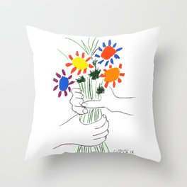 Pablo Picasso Bouquet Of Peace 1958 (Flowers Bouquet With Hands), T Shirt, Artwork Throw Pillow