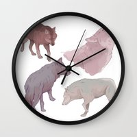 wolves Wall Clocks featuring wolves by Devon Busby Busbyart