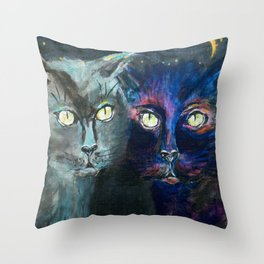 They Meet in the Night (Cats) Throw Pillow