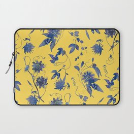 Elegant Blue Passion Flower on Mustard Yellow Laptop Sleeve
