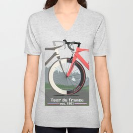 Tour De France Bicycle Unisex V-Neck