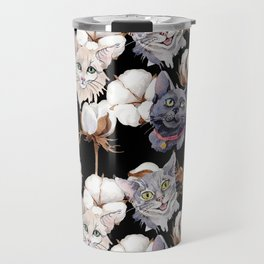 Cotton Flower & Cat Pattern on Black 02 Travel Mug