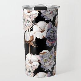 Cotton Flower & Cat Pattern on Black 02 Travel Mug