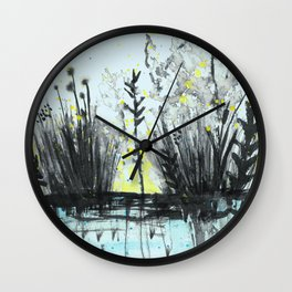 Cattails in the grass Wall Clock