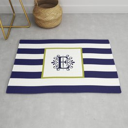 Monogram Letter E Navy Blue and White Stripes Rug