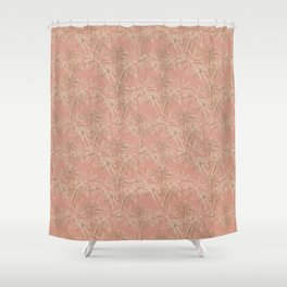Fireworks Bloom on Coral Shower Curtain