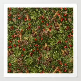 Traditional Holly Christmas Pattern Art Print