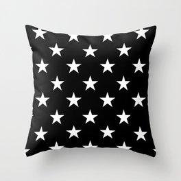 Stars (White/Black) Throw Pillow