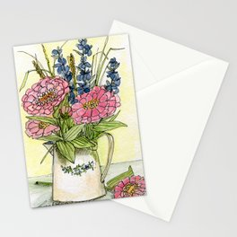 Pink Zinnias in Pitcher Watercolor Stationery Cards