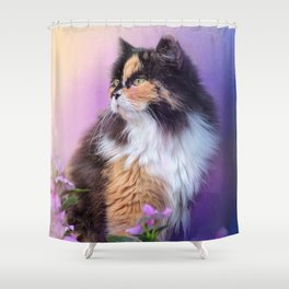 Calico Kitty In The Garden Shower Curtain
