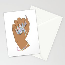 Hand with holographic long nails holds nail polish Stationery Cards