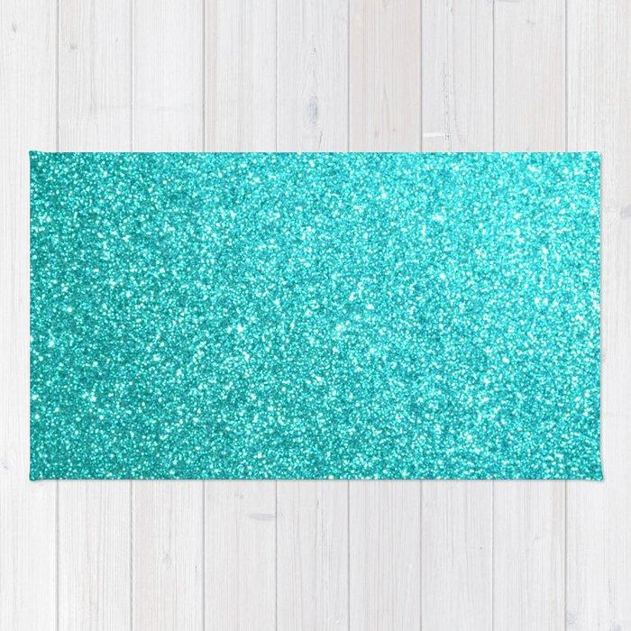 Bright Aqua Blue Glitter Tiffany Rug