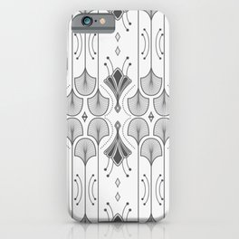 Lily Lake - Retro Floral Pattern Black White iPhone Case