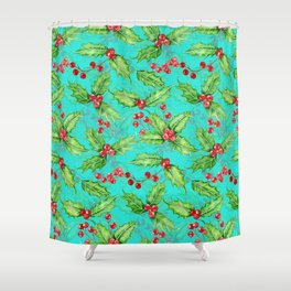 Holly berry watercolor Shower Curtain