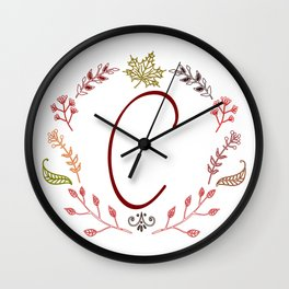 Floral C letter Wall Clock