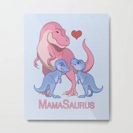 MamaSaurus T-rex and Twin Boy Dinosaurs Metal Print