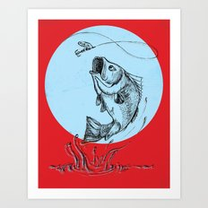 Bass Jumping In Blue Circle2 Art Print