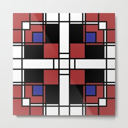 Neoplasticism symmetrical pattern in Well Read (red) Metal Print