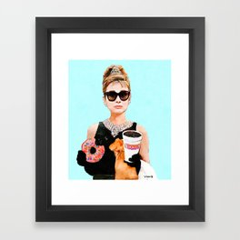 Breakfast at Dunkin Donuts - Audrey Hepburn Framed Art Print