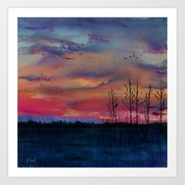Above the Cottonwoods Art Print