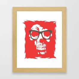 limited edition:amazing skull with glasses red background Framed Art Print