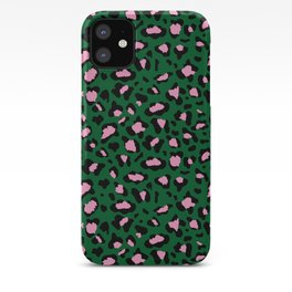 Leopard Print - green and pink iPhone Case