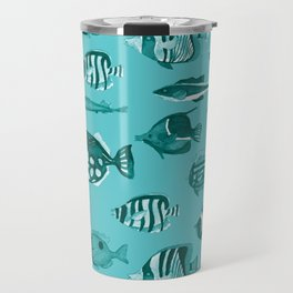 School of Tropical Fish Blue Travel Mug