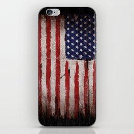American Flag Grunge Black Wood iPhone Skin