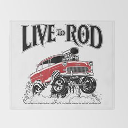 1955 CHEVY CLASSIC HOT ROD Throw Blanket