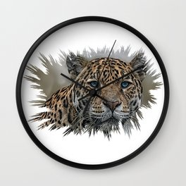 Blue Eyed Jaguar Wall Clock