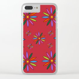 Flower Art in Multicolor - Red Clear iPhone Case