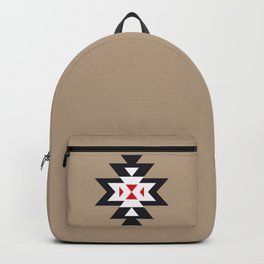 Navajo Aztec Pattern Black White Red on Light Brown Backpack