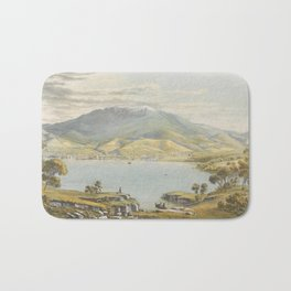 Hobart Town by Eu von Guerard Date 1867  Romanticism Series Australian Landscapes  Landscape Bath Mat