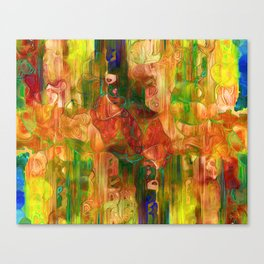 Multi Colored Yellow Green Abstract Canvas Print