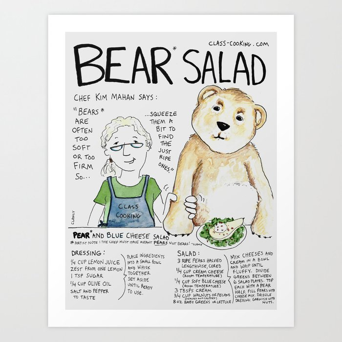 Bear Salad Art Print