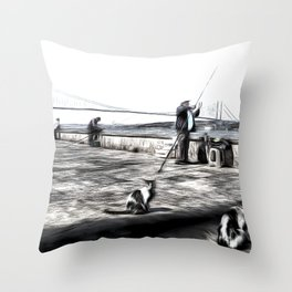 Fishermen And Cats Istanbul Throw Pillow