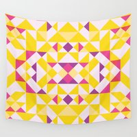 be happy Wall Tapestries featuring Happy by Leandro Pita