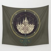 dahlia Wall Tapestries featuring Fading Dahlia by Hector Mansilla
