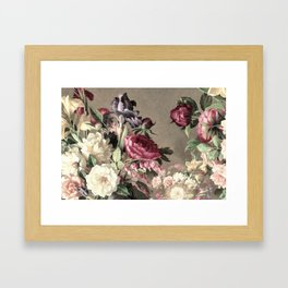 Vintage bouquet taupe burgundy Framed Art Print