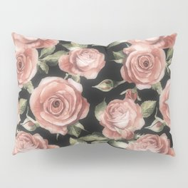 Classic Pink Roses On Black Pillow Sham