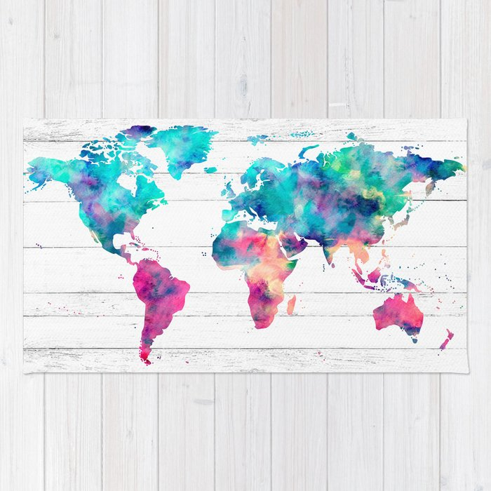 World map watercolor paint on white wood rug by mapmaker society6 world map watercolor paint on white wood rug gumiabroncs Choice Image
