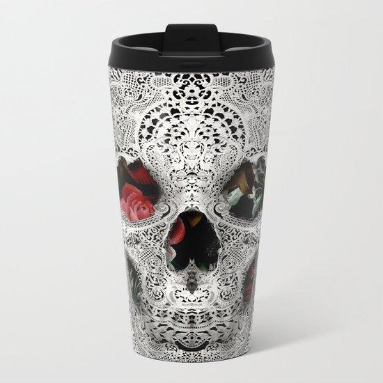 Lace Skull Light Metal Travel Mug