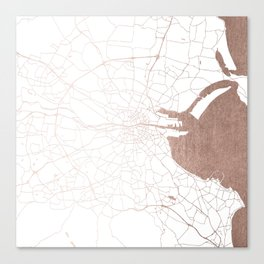 Dublin White on Rosegold Street Map II Canvas Print