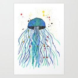 Watercolor Blue Jellyfish Art Print