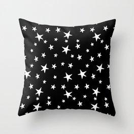 Stars - White on Black Throw Pillow