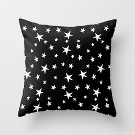 Stars - White on Black Throw Pillow
