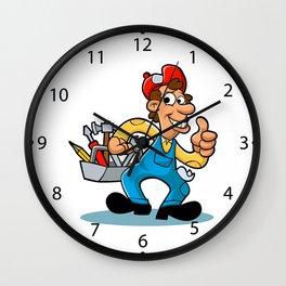 handyman holding  tool box Wall Clock